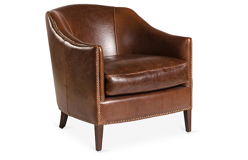 Verona Leather Club Chair, Saddle
