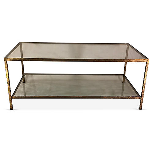 Lowerline Coffee Table, Antiqued Gold