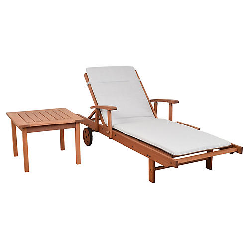 Asst. of 2 Nieuw Lounger & Table, Light Gray