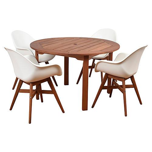 Charlotte 5-Pc Round Dining Set, Natural/White
