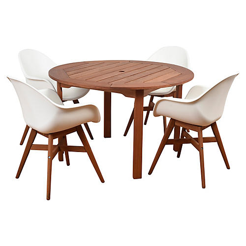 Charlotte 5-Pc Round Dining Set, Natural/White