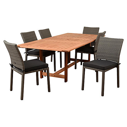 Damian 7-Pc Dining Set, Natural/Gray