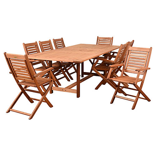 Brandon 9-Pc Dining Set, Natural