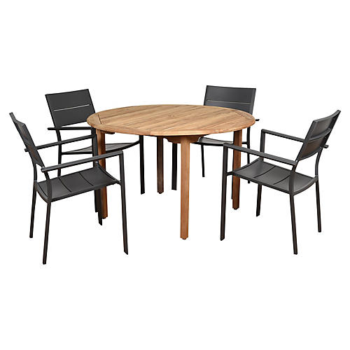 Koningsdam 5-Pc Round Dining Set, Natural/Gray