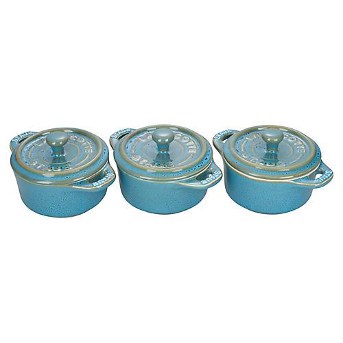 3-Pc Mini Round Cocottes, Rustic Turquoise