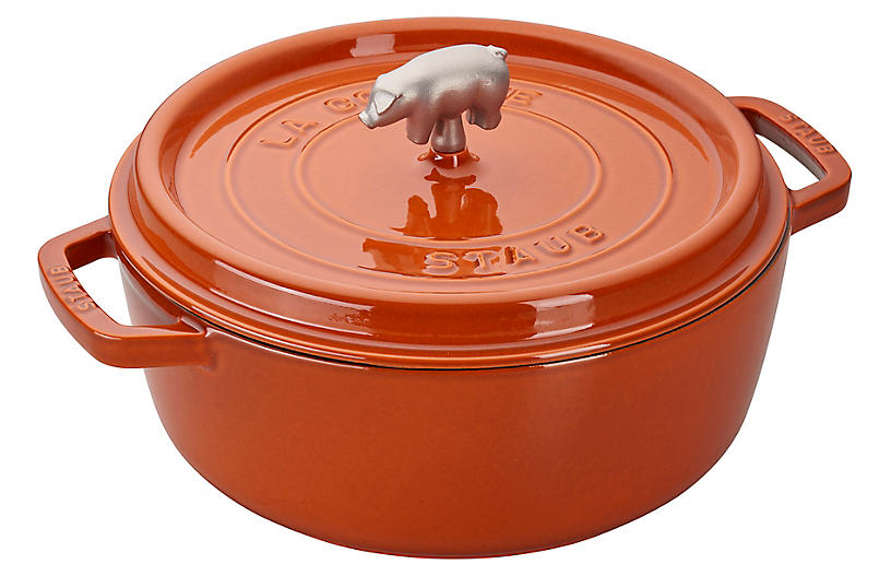 6-Qt Cochon Shallow Wide Cocotte, Burnt Orange