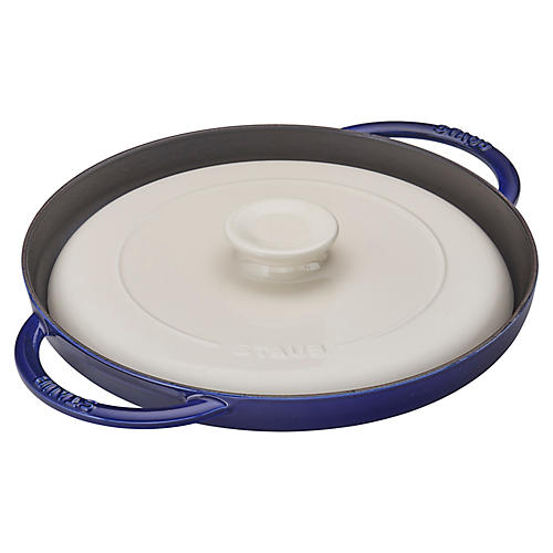 "12"" Chicken al Mattone Griddle Set, Navy"