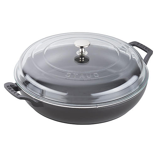 3.5-qt Cast Iron Braiser w/Lid, Matte Black