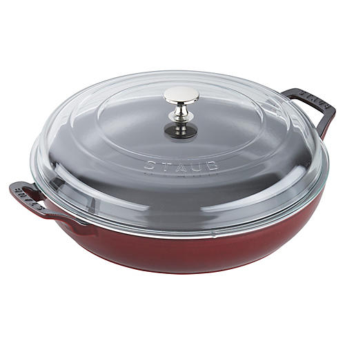 3.5-qt Cast Iron Braiser w/Lid, Grenadine