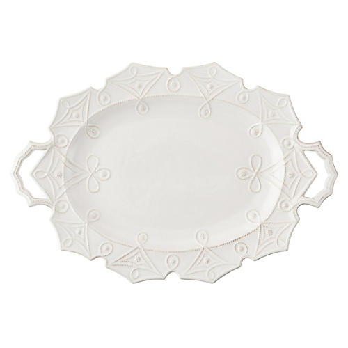 Jardins du Monde Turkey Serving Platter, White
