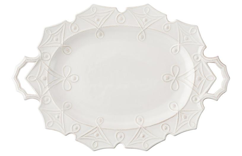 Jardins du Monde Turkey Serving Platter, White
