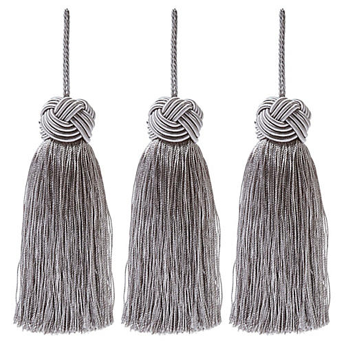 S/3 Tinsel Knot-Top Tassel Ornaments, Silver