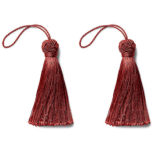 S/2 Gigi Key Tassels, Crimson