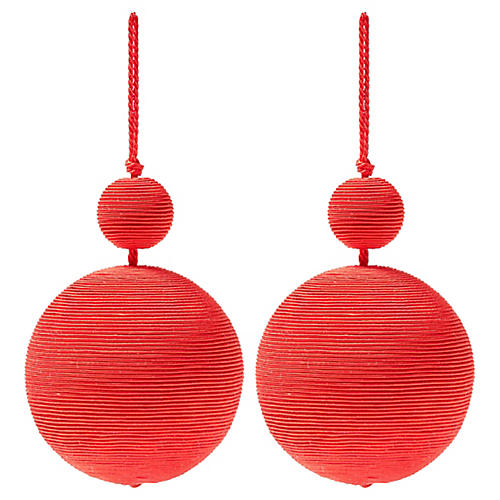 S/2 Donner Double Ball Ornaments, Red