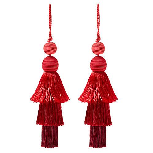 S/2 Fiesta Tiered Tassel Ornaments, Red