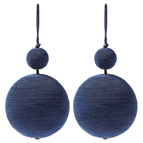 S/2 Donner Double Ball Ornaments, Blue
