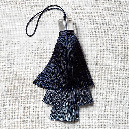 Deco Stacked Key Tassel, Navy