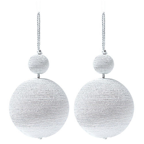 S/2 Donner Double Ball Ornaments, Silver