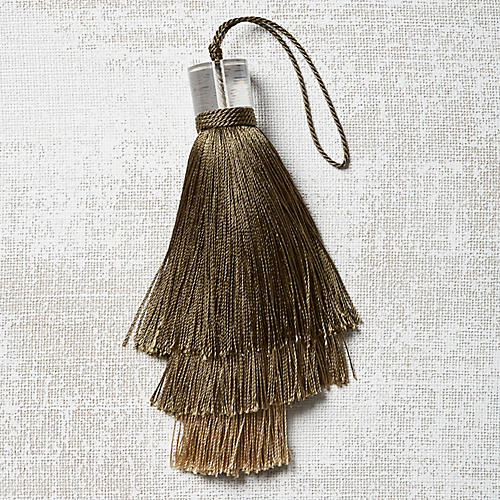 Deco Stacked Key Tassel, Olive
