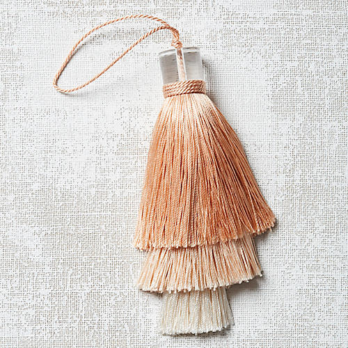 Deco Stacked Key Tassel, Blush