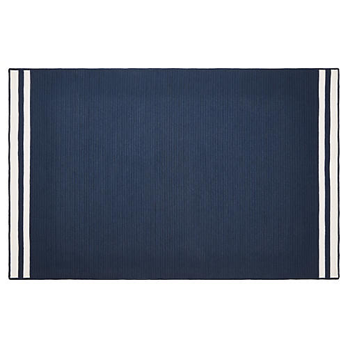 Northport Outdoor Rug, Navy/White