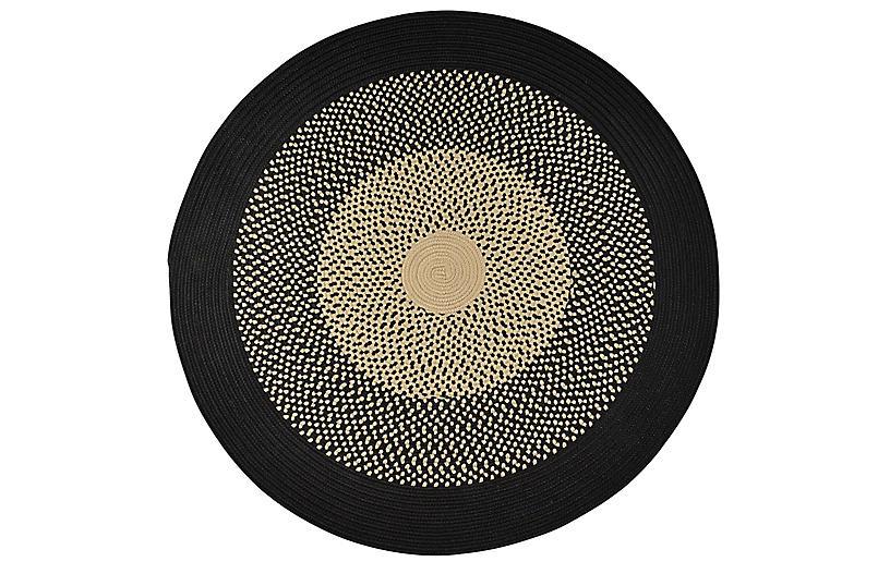 Mirada Round Outdoor Rug, Black/Sand