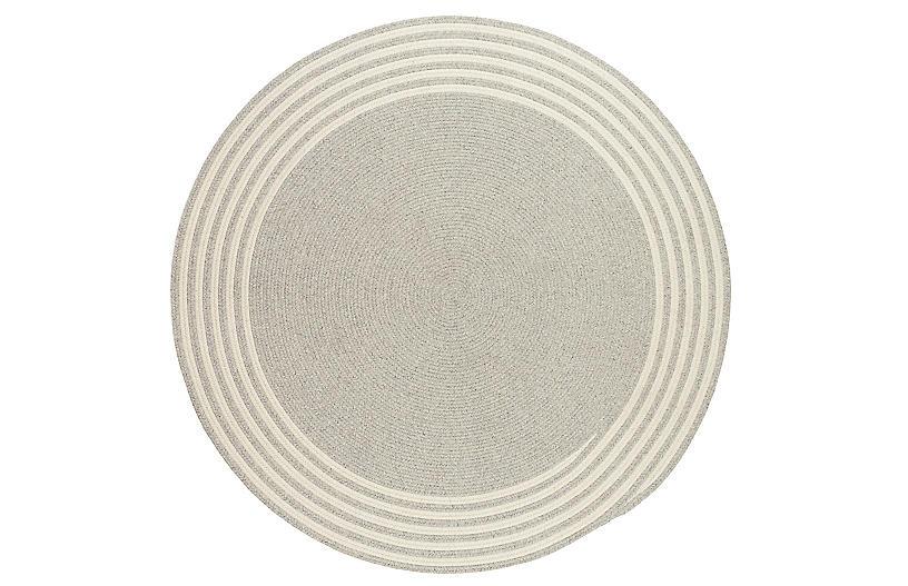 Exeter Round Rug, Gray/Ivory