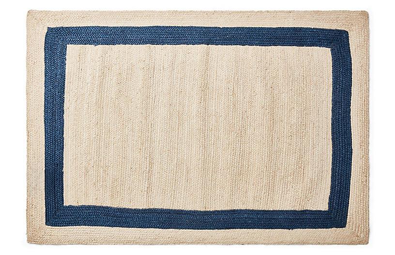 Yoni Jute Rug, Natural/Indigo