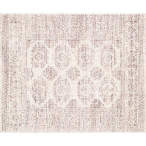 Arley Hand-Knotted Rug, White/Berry
