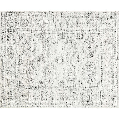 Arley Hand-Knotted Rug, White/Black