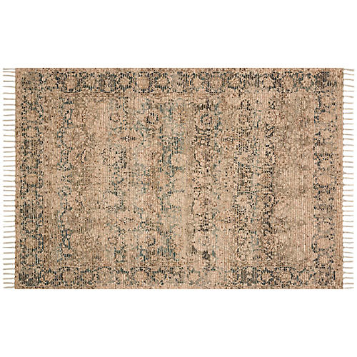 Creon Rug, Natural/Teal