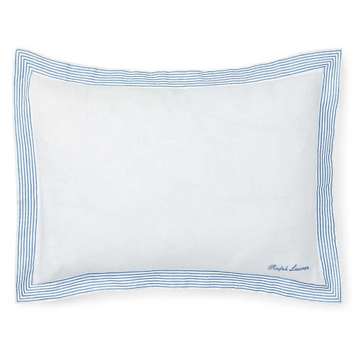 Fenton 15x20 Decorative Pillow, White/Blue