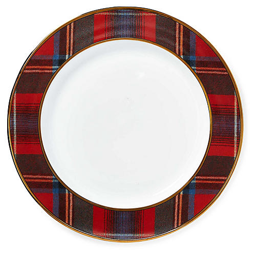 Alexander Dinner Plate, Red Plaid