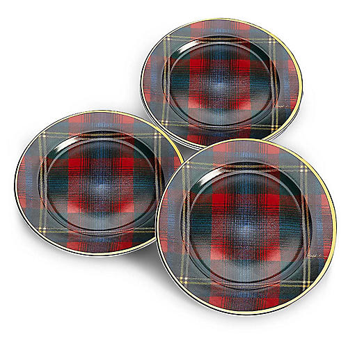 S/4 Alexander Dessert Plates, Red Plaid