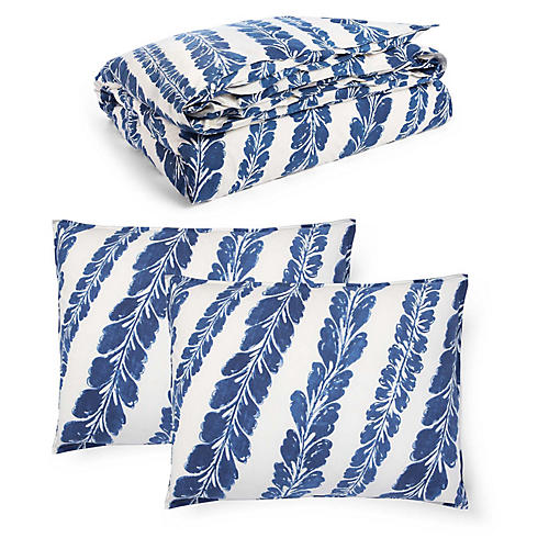 Annalise Duvet Set, Blue/White