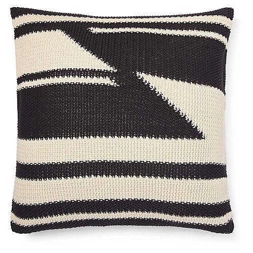 Taylor 20x20 Modern Knit Pillow, Cream/Charcoal