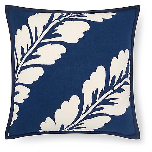 Annalise 18x18 Botanical Pillow, Blue/Natural