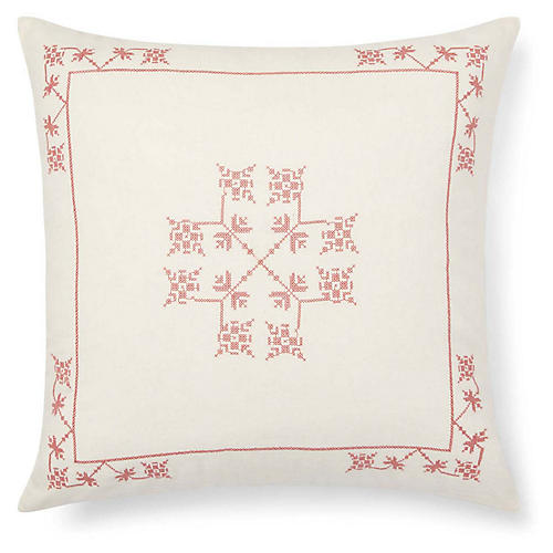 Marley 20x20 Embroidery Pillow, Cream/Multi