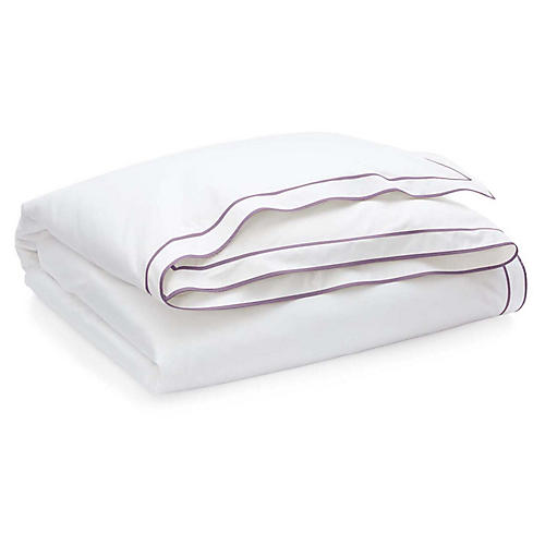 Spencer Border Duvet, White/Lavender