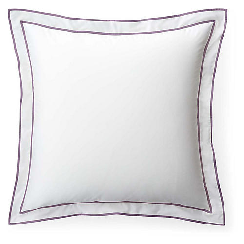 Spencer Border Euro Sham, White/Lavender