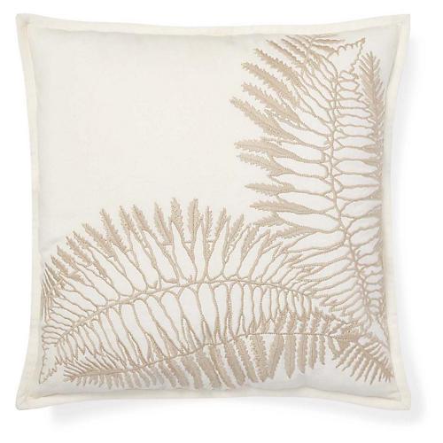 Hadley 18x18 Embroidery Pillow, Cream/Tan