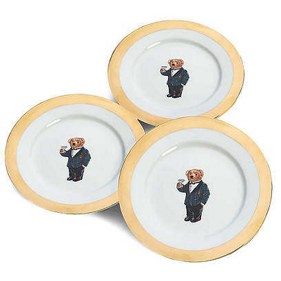 S/4 Thompson Dessert Plates, Gold/Multi