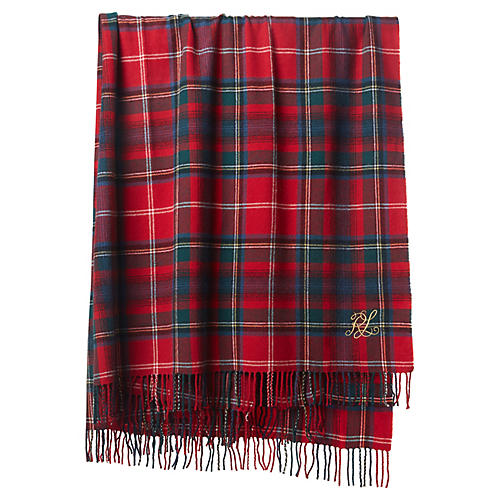 Leinster Holiday Wool Throw, Red