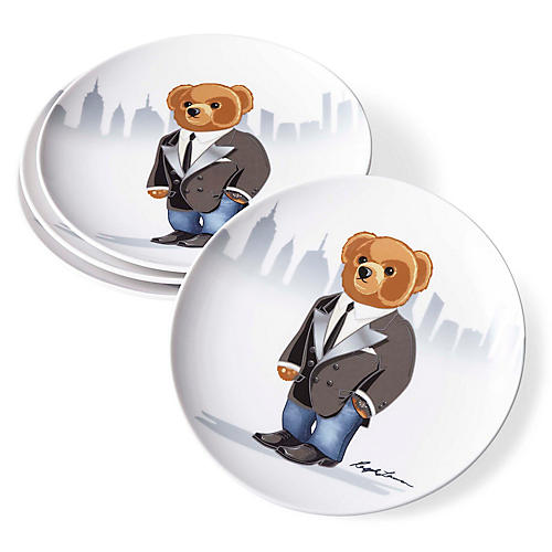 S/4 Haven City Bear Dessert Plates, White/Multi