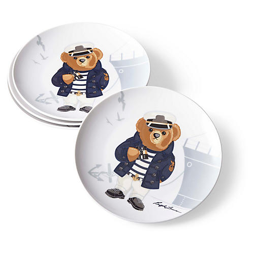 S/4 Haven Navy Bear Dessert Plates, White/Multi