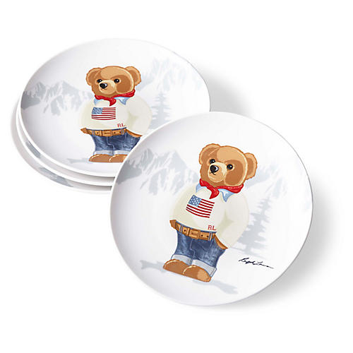 S/4 Haven Flag Bear Dessert Plates, White/Multi