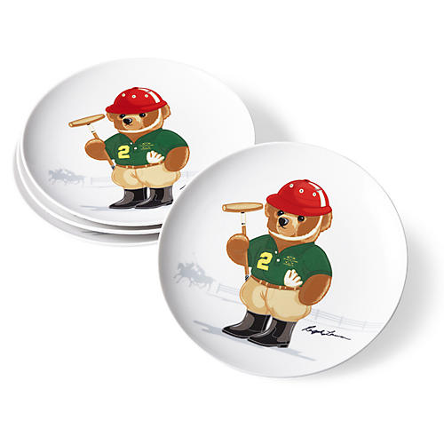 S/4 Haven Polo Bear Dessert Plates, White/Multi