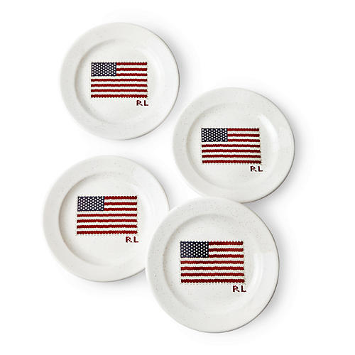 S/4 Bradfield Dessert Plates, White/Multi