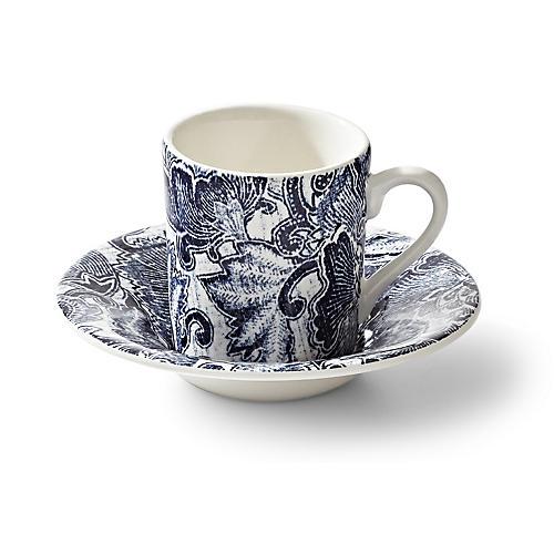 Faded Peony Espresso Cup & Saucer