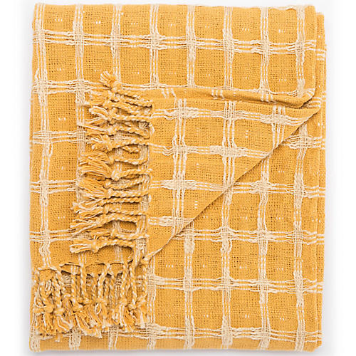 Sime Cotton Throw, Yellow/Cream